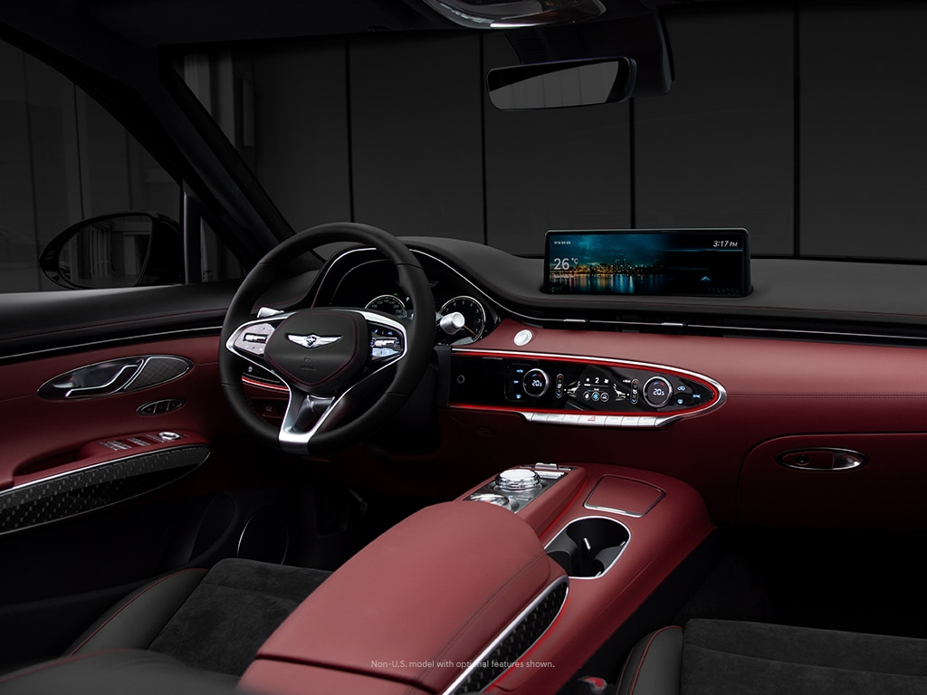 2022 Genesis GV70 interior with available diamond quilted leather seats.