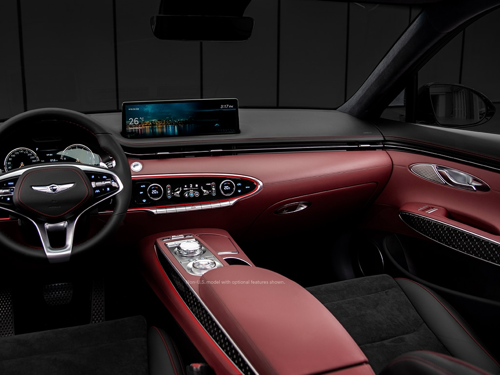 2022 Genesis GV70 interior with available sport seats and 14.5-inch HD display.