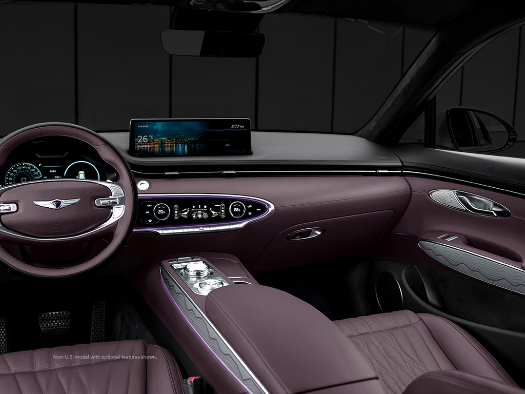 2022 Genesis GV70 interior with sport interior and advanced technology.