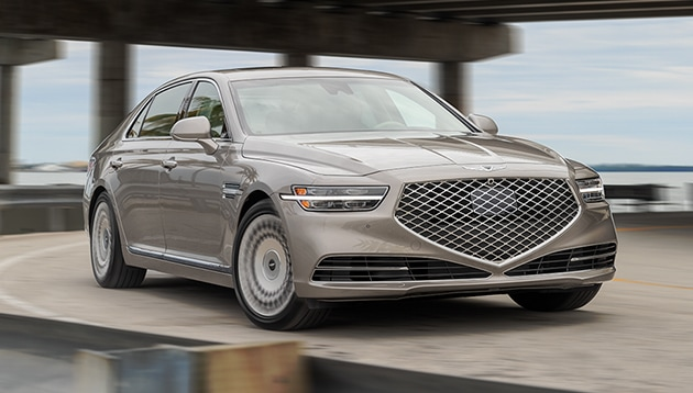 2021 Genesis G90 shown in Gold Coast Silver.