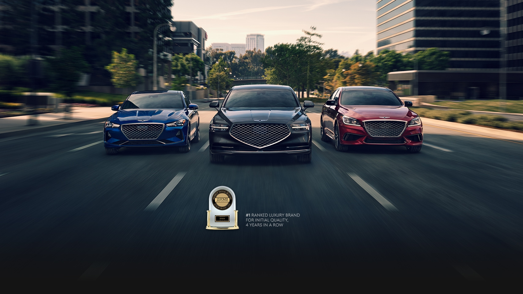Pack shot of 2020 Genesis G70, G90, and G80 with J.D. Power trophy.