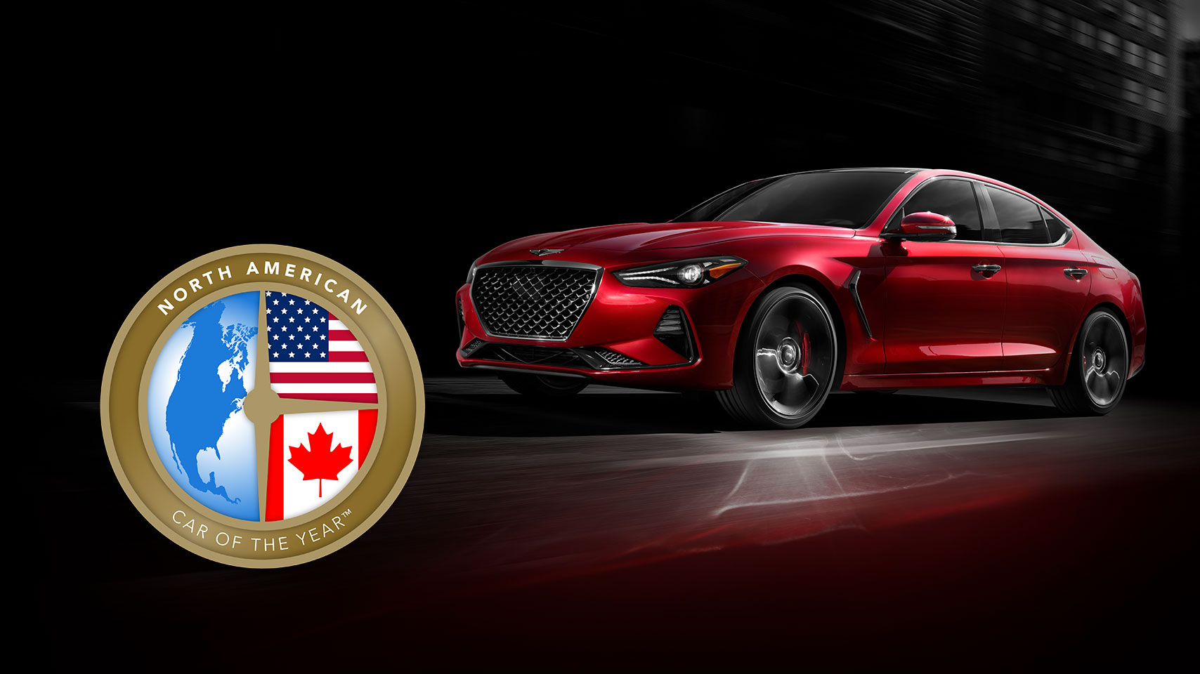 2019 Genesis G70 shown in Havana Red with North American Car of the Year award.